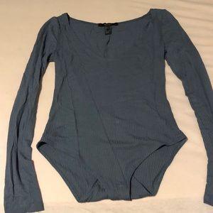 Forever 21 long sleeve v neck bodysuit